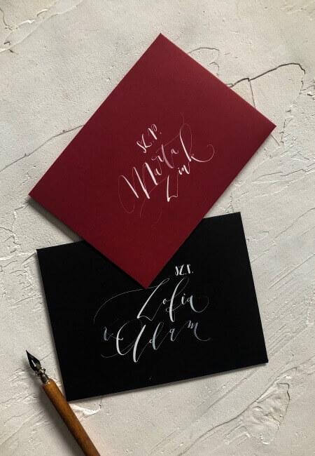 czern czerwone wino kaligrafia designyourwedding
