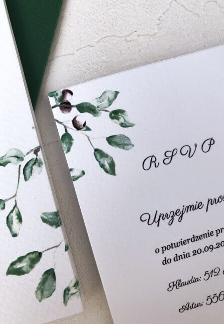 Zielone listki _ rsvp _ design your wedding