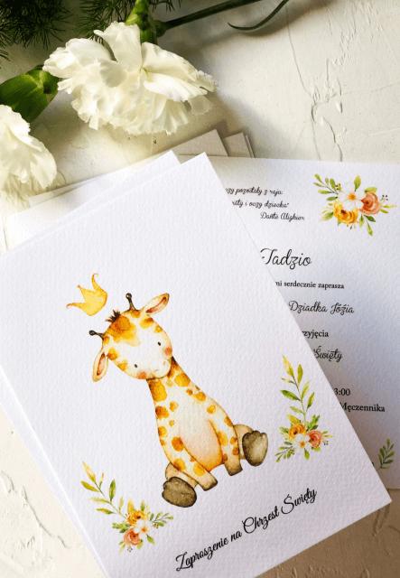 zaproszenia na chrzest zyrafka tadzio Design Your Wedding