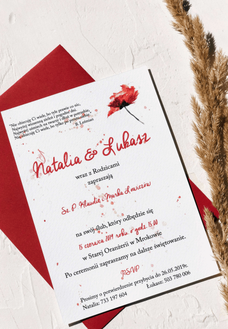 zaproszenie na slub czerwone maki Design Your Wedding