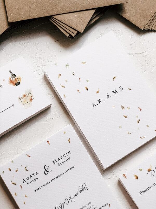 kiedy zamawiac zaproszenia slubne jesienne listki design your wedding
