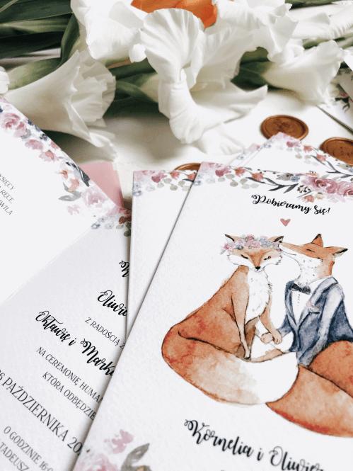 zakochane liski zaproszenia slubne design your wedding
