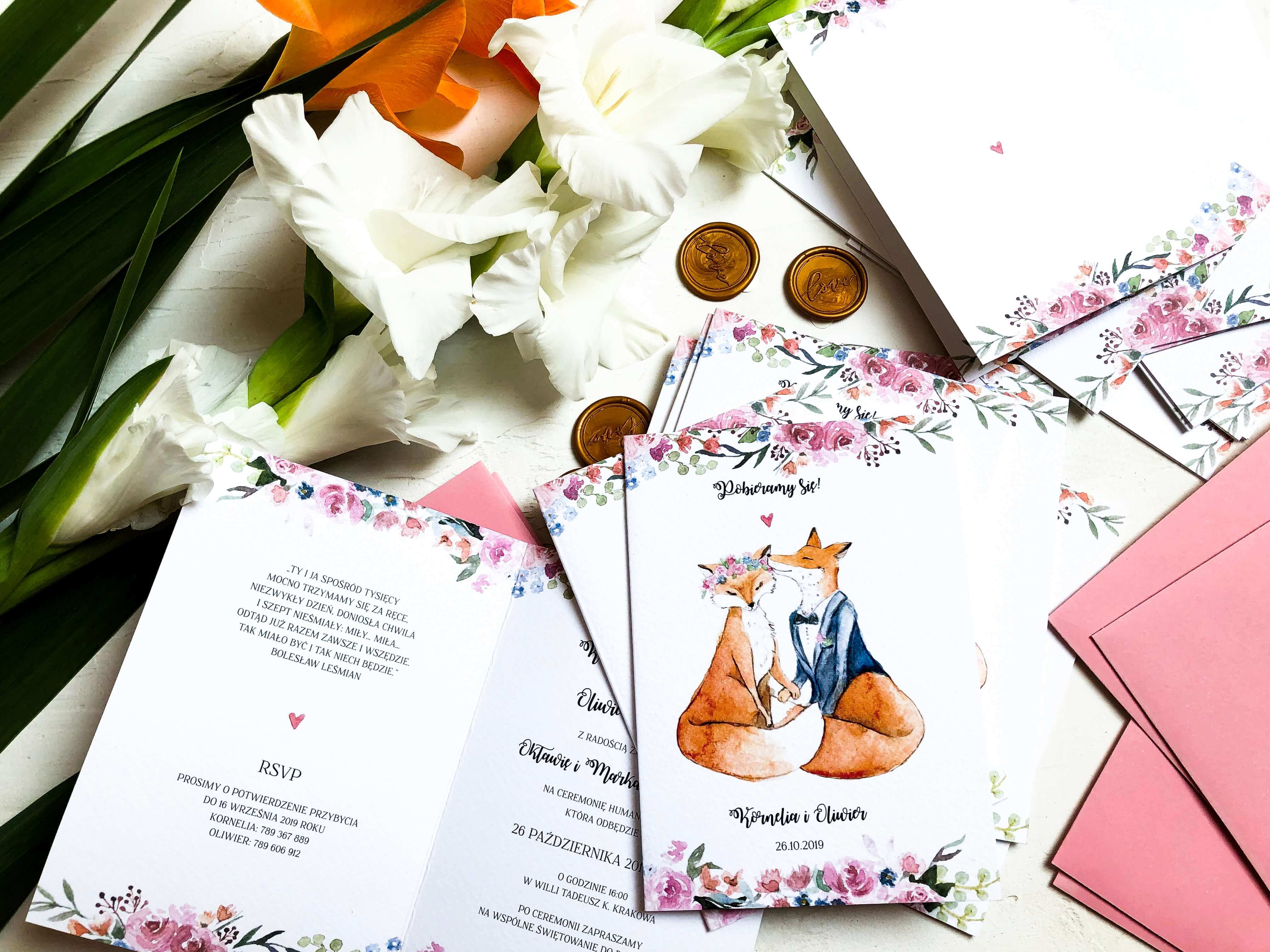 zaproszenia liski design your wedding