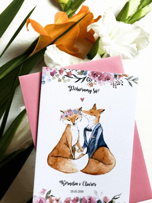 zaproszenia na slub zakochane liski Design Your Wedding