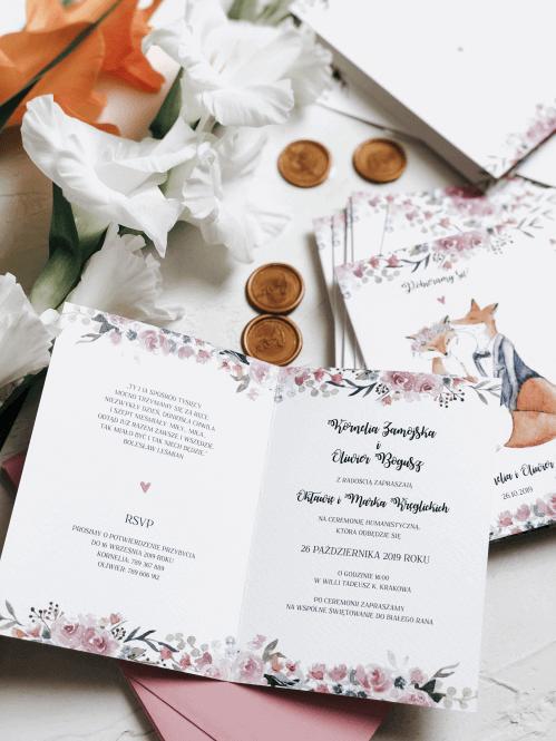 zaproszenia slubne zakochane liski Design Your Wedding