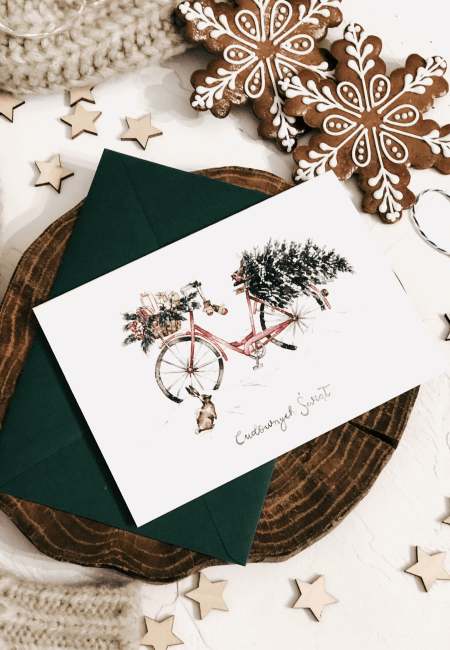 rower christmas delivery kartka świąteczna design your wedding