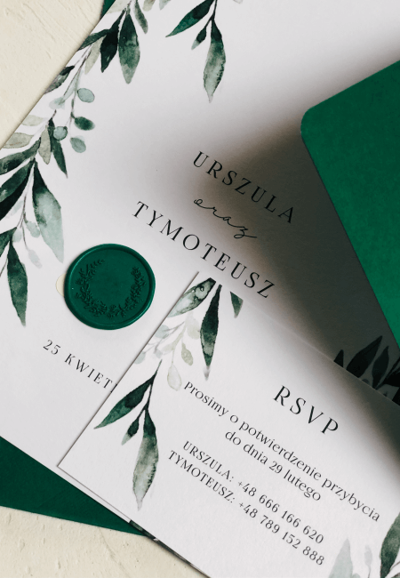 eleganckie zaproszenia ślubne greenery