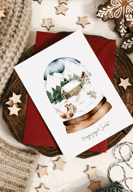 kula śnieżna kartka boże narodzenie _ Design Your Wedding