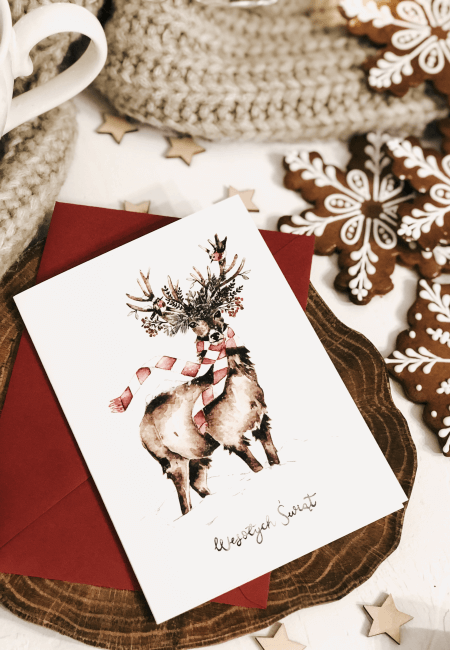 merry merry deer kartka świąteczna design your wedding
