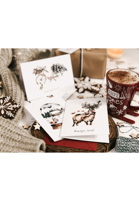 zestaw 3 kartek świątecznych magic christmas design your wedding