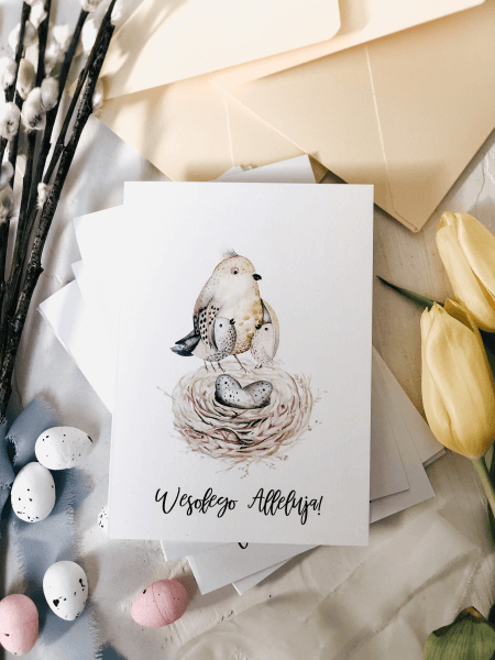 kartka wielkanocna easter birds design your wedding