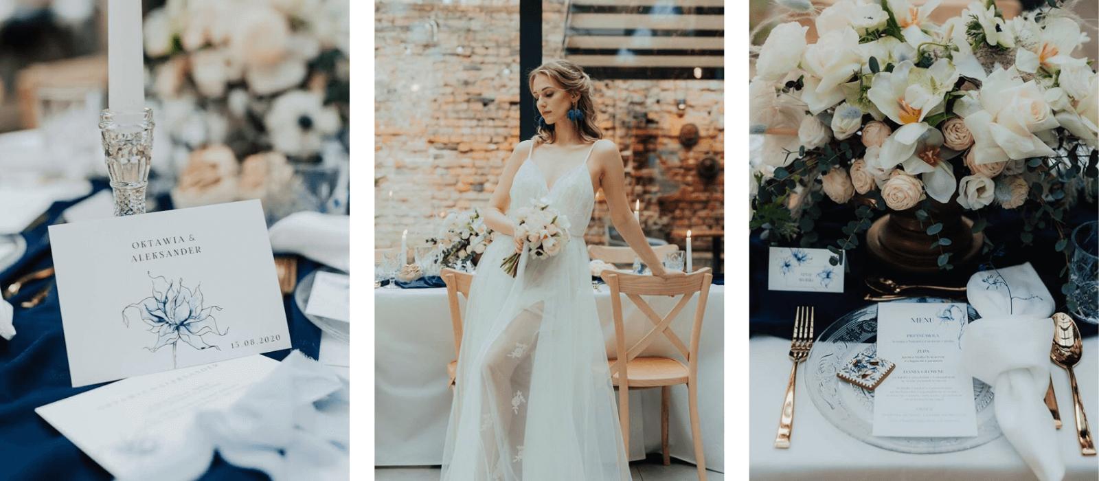realizacje stylizowana sesja ślubna classic blue magazyn wesele design your wedding