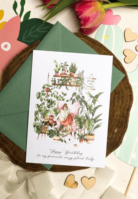 Kartka Urodzinowa Crazy Plant Lady _ Design Your Wedding