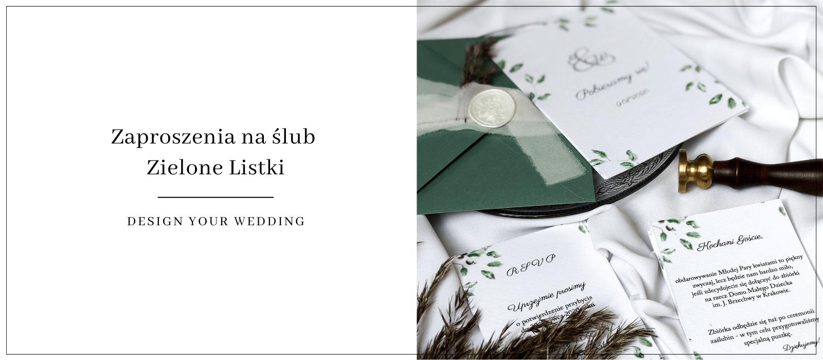 zielone listki zaproszenia Design Your Wedding