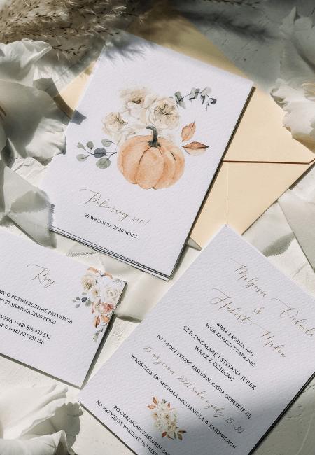zaproszenia ślubne jesienne kwiaty Design Your Wedding