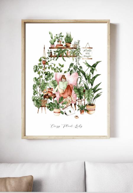 Roślinny plakat Crazy Plant Lady