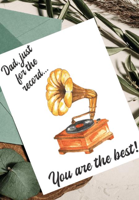 Kartka na Dzień Ojca Gramofon Design Your Wedding