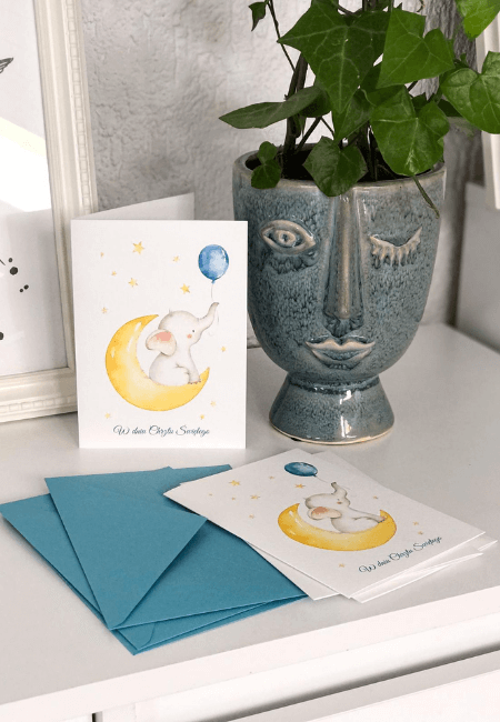 kartka urodzinowa słonik na księżycu / Design Your Wedding