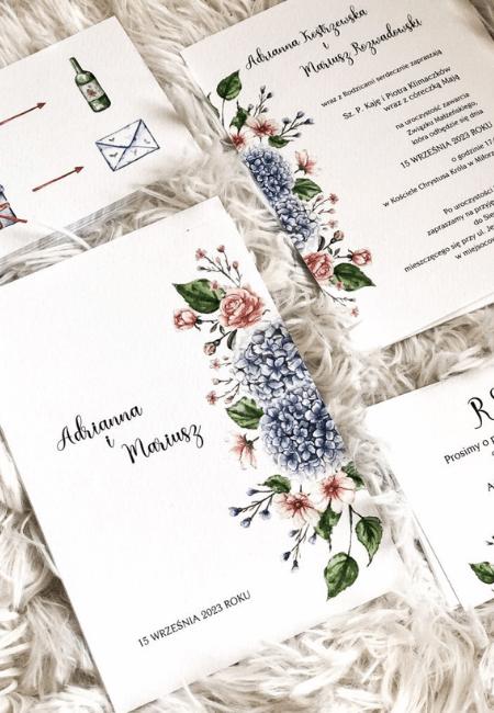Kwiatowe zaproszenia ślubne Hortensje Design Your Wedding